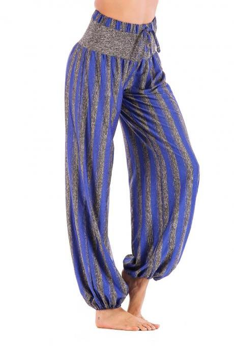 Women Lantern Pants Drawstring High Waist Striped Casual Loose Fitness Sport Yoga Long Harem Trousers blue