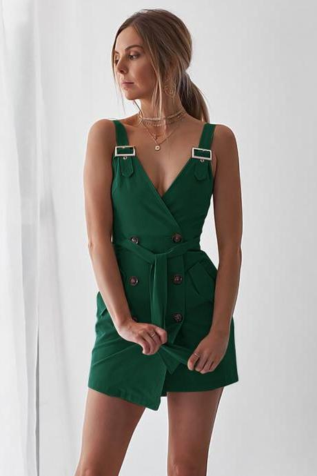 Women Sleeveless Blazer Suit Dress Summer Buttons V Neck Casual Slim Mini Club Party Sundress green
