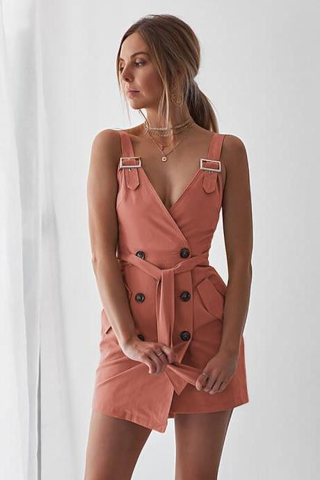 Women Sleeveless Blazer Suit Dress Summer Buttons V Neck Casual Slim Mini Club Party Sundress pink
