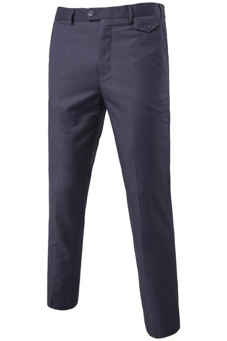 Men Suit Pants Cotton Solid Casual Business Formal Bridegroom Plus Size Wedding Trousers dark gray