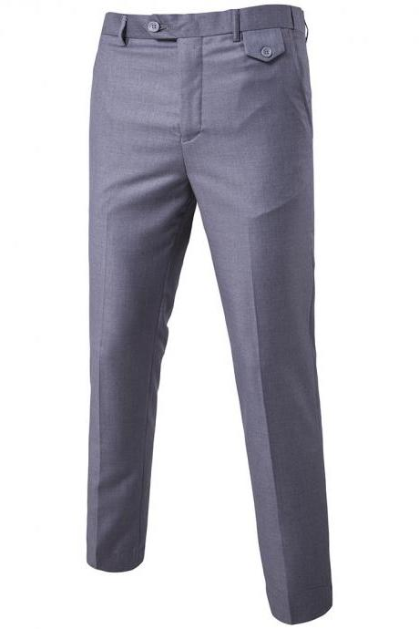 Men Suit Pants Cotton Solid Casual Business Formal Bridegroom Plus Size Wedding Trousers gray