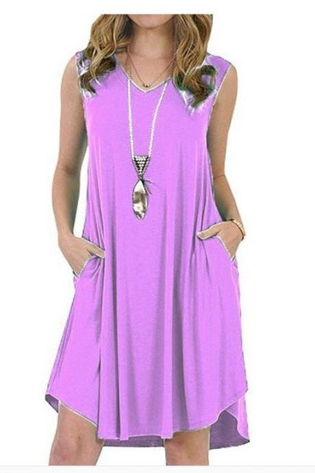 Women Casual Dress V-Neck Sleeveless Pocket Streetwear Summer Plus Size Beach Mini Sundress lilac