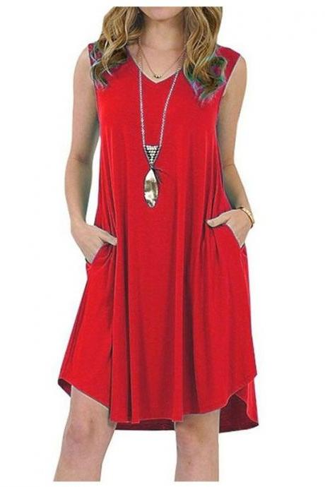 Women Casual Dress V-Neck Sleeveless Pocket Streetwear Summer Plus Size Beach Mini Sundress red