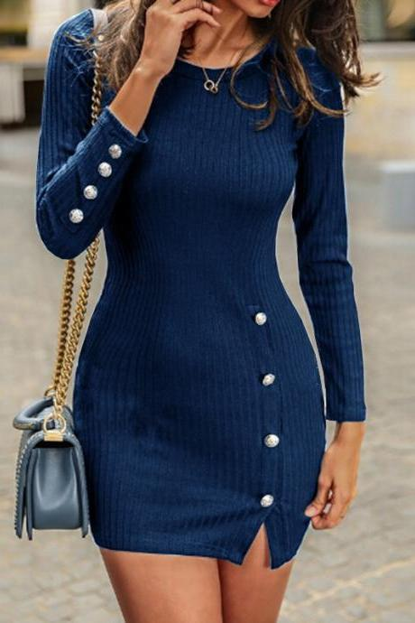 Women Sweater Dress Autumn Buttons Long Sleeve Bodycon Mini Pencil Club Party Dress navy blue