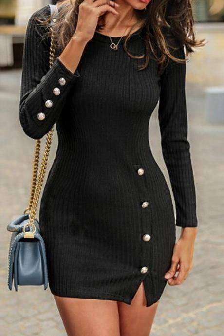 Women Sweater Dress Autumn Buttons Long Sleeve Bodycon Mini Pencil Club Party Dress black