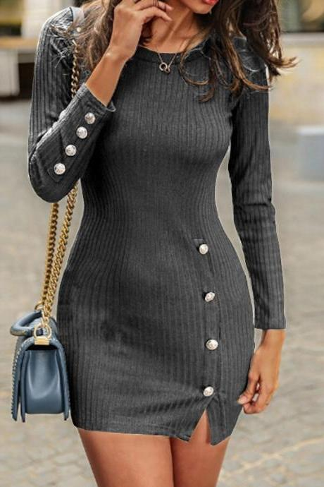 Women Sweater Dress Autumn Buttons Long Sleeve Bodycon Mini Pencil Club Party Dress dark gray
