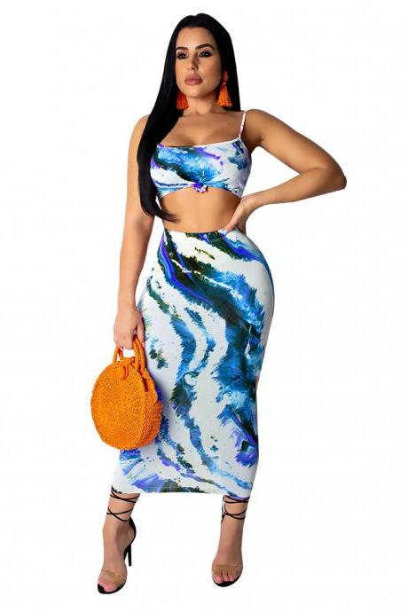 Women Tracksuit Spaghetti Straps Printed Crop Top + Bodycon Midi Skirt Casual Two Piece Set Club Party Outfits blue