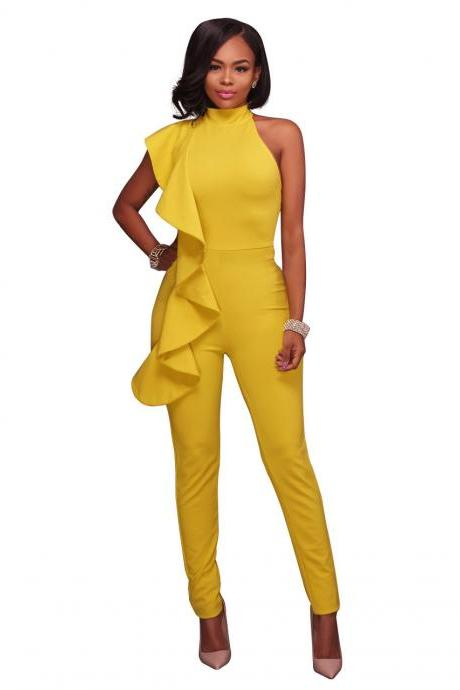 Women Jumpsuit Ruffles Casual Bodycon Sleeveless Office Formal Rompers Bodysuit yellow