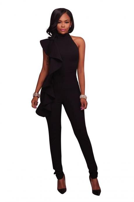 Women Jumpsuit Ruffles Casual Bodycon Sleeveless Office Formal Rompers Bodysuit black