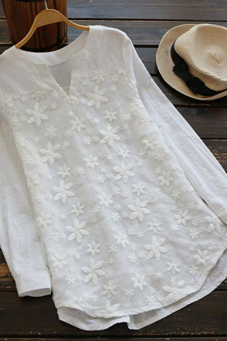 Women Embroidery Floral Lace Blouse V Neck Long Sleeve Casual Loose Plus Size Tops off white
