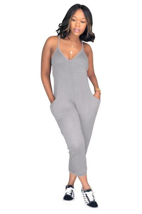 Women Jumpsuit Spaghetti Strap Sleeveless Pocket Summer Casual Loose Romper Overalls gray