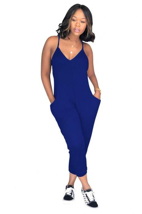 Women Jumpsuit Spaghetti Strap Sleeveless Pocket Summer Casual Loose Romper Overalls royal blue