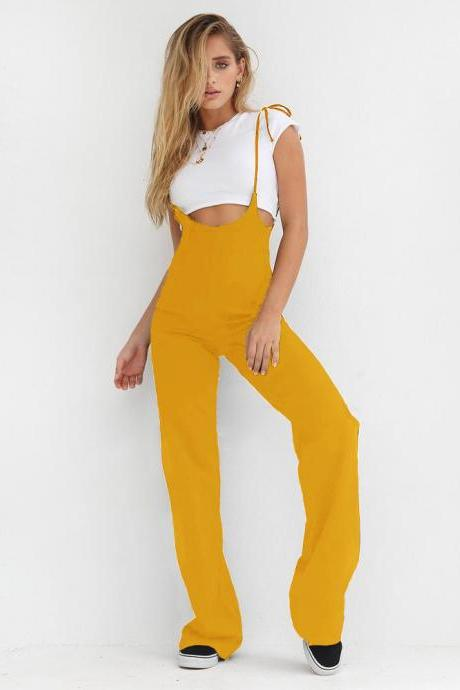 Women Jumpsuit High Waist Bandage Streetwear Casual Loose Long Suspenders Pants Rompers yellow