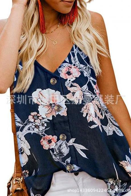 Women Button Tank Top Spaghetti Strap V Neck Summer Causal Loose Sleeveless Vest Tops floral navy blue