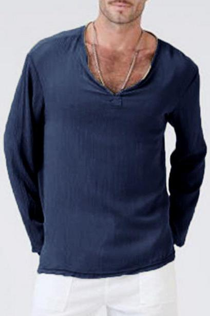 Men Long Sleeve T Shirt Spring Fall V Neck Cotton Linen Casual Loose Pullover Tops navy blue