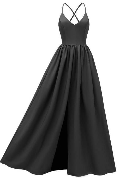Women Maxi Dress Spaghetti Strap Backless Casual Slim Long Formal Birthday Party Dress black