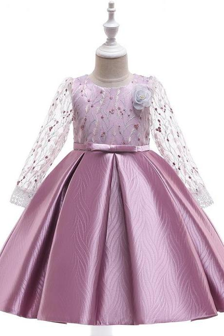 Long Sleeve Flower Girl Dress Embroidery Princess Teens Formal Party Prom Gown Children Clothes bean pink