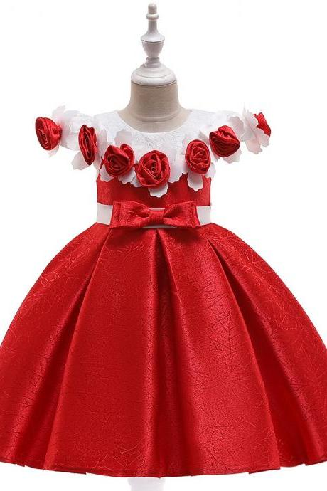 Princess Flower Girl Dress Floral Satin Formal Party Birthday Gown Children Kids Clothes red