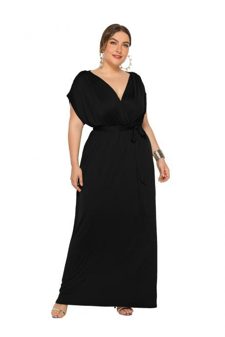 Women Maxi Dress V Neck Short Sleeve Belted Casual Plus Size Long Formal Evening Party Dress black