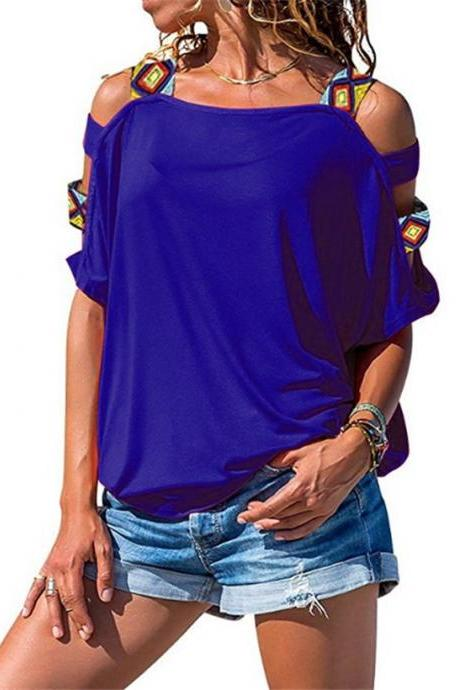 Women Short Sleeve T Shirt Hollow Out Off Shoulder Summer Casual Loose Tee Tops royal blue