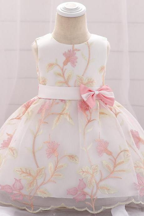 Embroidery Flower Girl Dress Newborn Baby Baptism Floral Party Birthday Gown Kids Clothes salmon