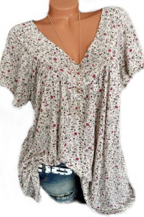 Women Floral Printed T Shirt Summer V Neck Short Sleeve Casual Loose Plus Size Tee Tops ivory