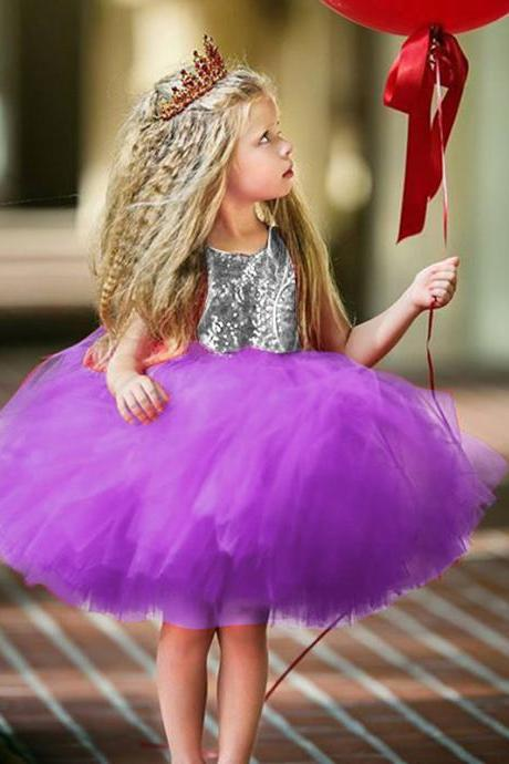 Sequined Flower Girl Dress Heart Backless Princess Formal Birthday Party Tutu Gown Kids Clothes purple