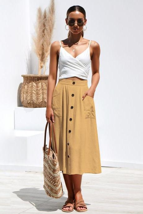 Women A-Line Skirt High Waist Summer Casual Button Pockets Female Midi Skirt khaki