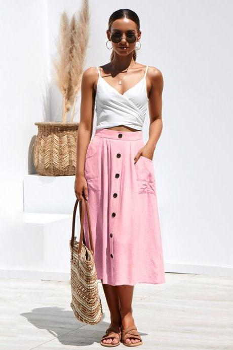 Women A-Line Skirt High Waist Summer Casual Button Pockets Female Midi Skirt pink