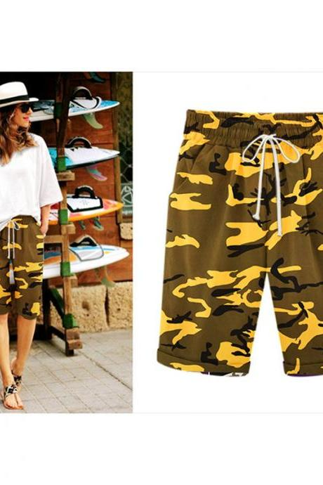 Women Camouflage Shorts Drawstring Elastic Waist Knee Length Summer Casual Loose Trousers yellow