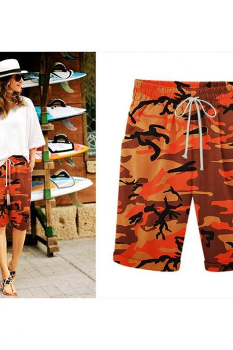 Women Camouflage Shorts Drawstring Elastic Waist Knee Length Summer Casual Loose Trousers orange