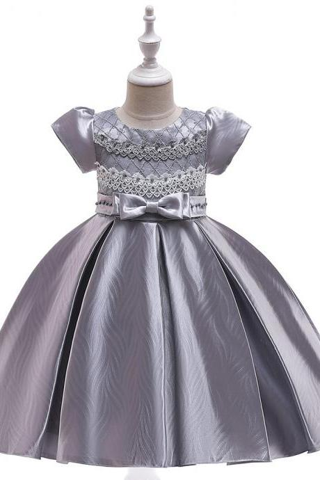 Lace Flower Girl Dress Short Sleeve Formal Birthday Party Ball Gown Children Kids Clothes gray