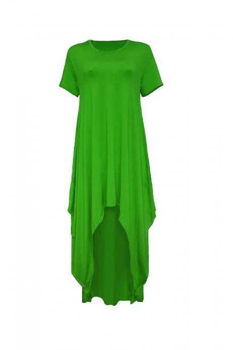 Women Asymmetrical Dress Summer Short Sleeve Streetwear Casual Loose High Low Dress green