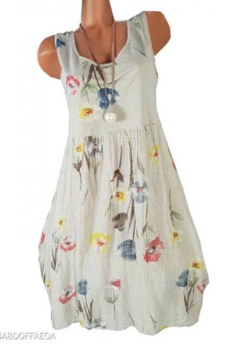 Women Floral Printed Dress Summer Casual Loose Boho Beach Plus Size Sleeveless Mini Sundress beige