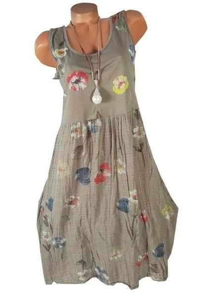 Women Floral Printed Dress Summer Casual Loose Boho Beach Plus Size Sleeveless Mini Sundress khaki