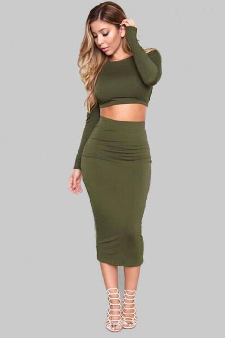 Women Two Pieces Dress Long Sleeve Backless Bandage Crop Top+Pencil Skirt Slim Bodycon Midi Club Party Dress army green