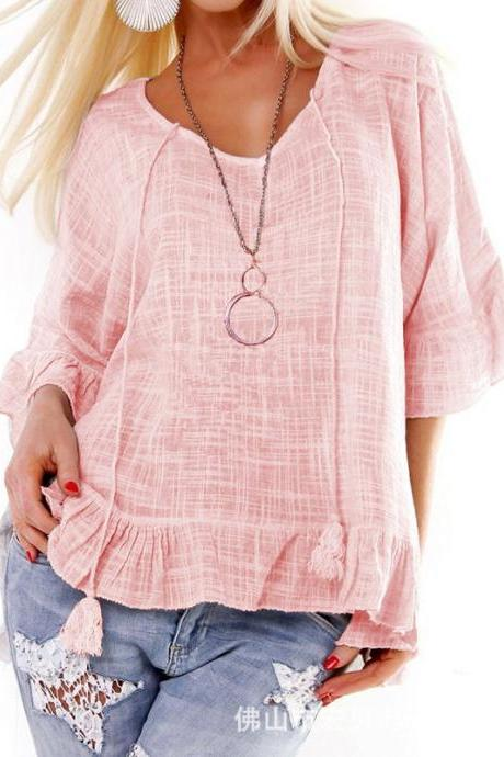 Women T Shirt Spring Summer Ruffles Half Sleeve Casual Loose Tee Tops pink