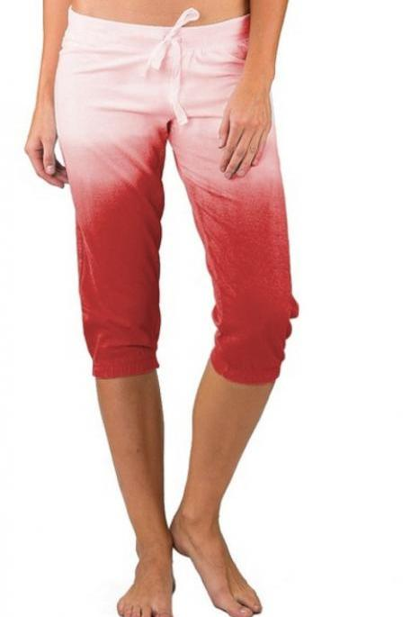 Women Gradient Color Cropped Pants Drawstring Mid Waist Summer Casual Slim Fitness Trousers red