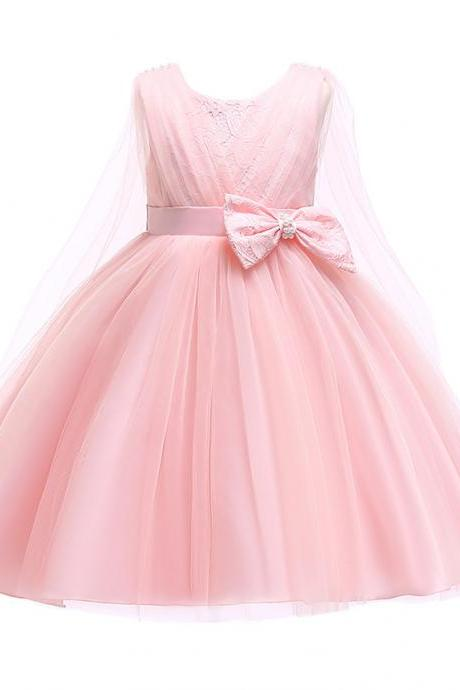 Lace Flower Girl Dress Sleeveless Formal Evening Birthday Tutu Gown Children Kids Clothes pink
