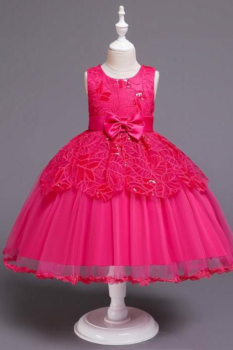 Lace Flower Girl Dress Princess Wedding Communion Birthday Party Gown Children Kids Clothes hot pink