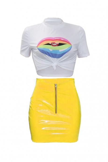 Women Tracksuit Summer Short Sleeve Crop Top+Mini Pu Leather Skirt Club Party Two Pieces Set yellow