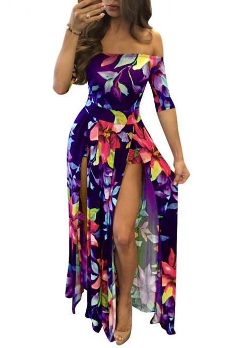 Women Maxi Dress Off The Shoulder Foral Printed Casual Summer Beach Boho Split Long Dress purple