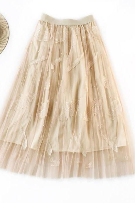 Women Tulle Skirt Summer High Waist Embroidery Feather A Line Casual Midi Pleated Skirt apricot