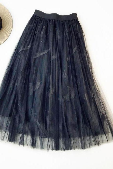 Women Tulle Skirt Summer High Waist Embroidery Feather A Line Casual Midi Pleated Skirt Black
