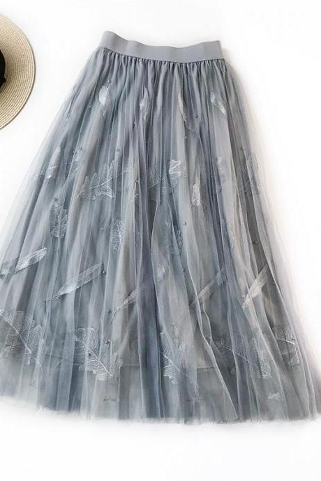 Women Tulle Skirt Summer High Waist Embroidery Feather A Line Casual Midi Pleated Skirt gray