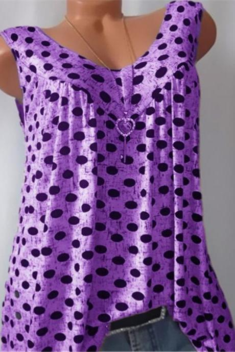 Women Polka Dot Tank Tops V-neck Casual Loose Vest Plus Size Summer Sleeveless T-Shirt purple