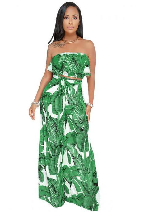 Women Two Pieces Set Strapless Crop Tops + Long Wide Leg Pants Leaf Printed Summer Casual Outfits