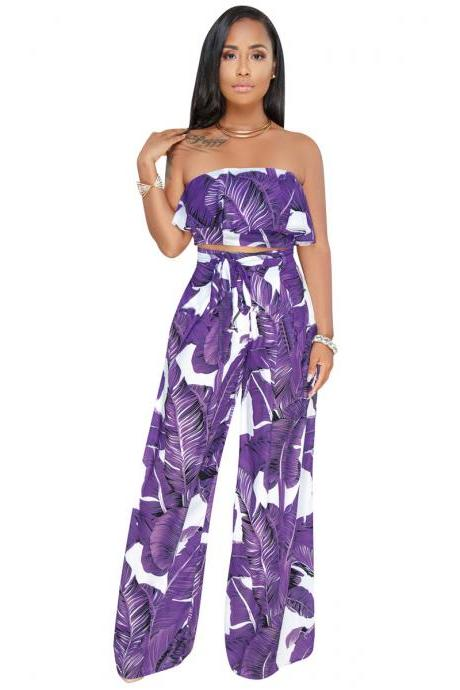 Women Two Pieces Set Strapless Crop Tops + Long Wide Leg Pants Leaf Printed Summer Casual Outfits purple