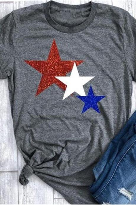Women T Shirt Summer Short Sleeve O-Neck Casual Star Printed Plus Size Tee Tops dark gray