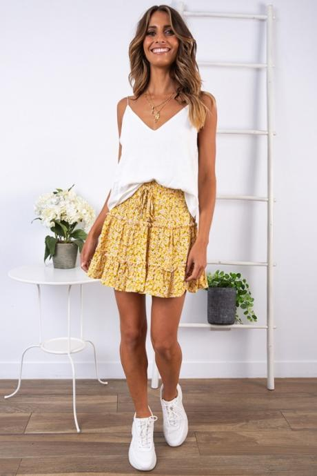 Women Mini Skirt High Waist Ruffles Casual Summer Beach Boho Floral Printed Short A-Line Skirt yellow floral